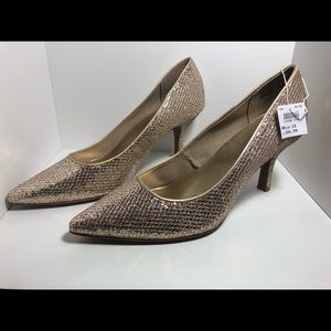 Fioni Night pointed toe gold High Heels Sz 10 NEW